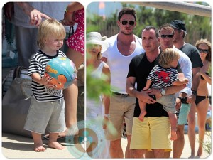 David Furnish with son Zachary in France