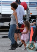 Halle Berry, Nahla Aubry on the set of 'The Hive' California