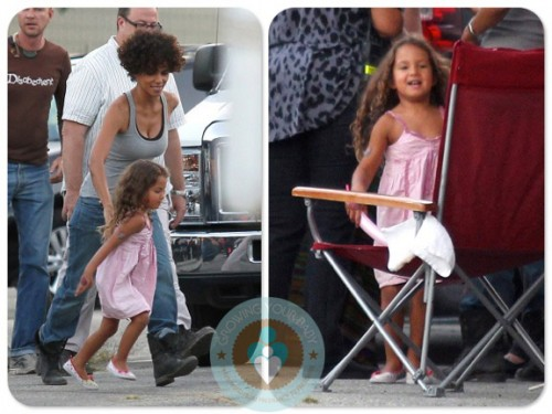 Halle Berry, Nahla Aubry on the set of The Hive California