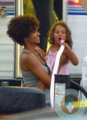 Halle Berry, Nahla Aubry on the set of The Hive, California