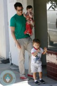 Johnny Knoxville with  kids Arlo and Rocko