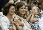 Mirka Federer watches husband Roger Federer with her twin daughters Myla Rose & Charlene Riva