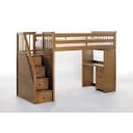 NE kids Schoolhouse stair Loft pecan