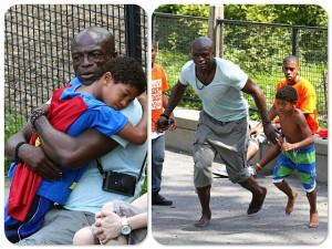 Seal with son Johan and Henry park NYC