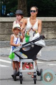 jessica alba, honor warren, haven warren, out in Central Park NYC - orbit stroller