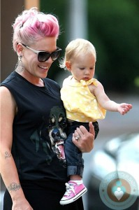singer Pink and daughter Willow in NYC