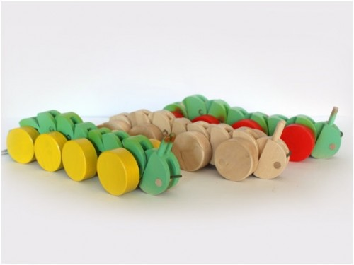 wooden caterpillar pull toy