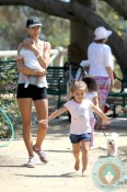 Alessandra Ambrosio with son Noah and daughter Anja out in LA