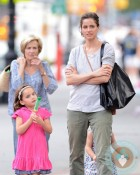 Amanda Peet with daughter Frances Benioff in NYC