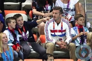 David Beckham, Romeo Beckham, Cruz Beckham, Brooklyn Beckham at London Summer Olympics copy
