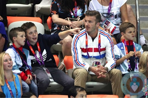 David Beckham, Romeo Beckham, Cruz Beckham, Brooklyn Beckham at London Summer Olympics copy
