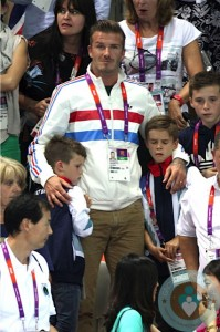 David Beckham, Romeo Beckham, Cruz Beckham London Summer Olympics