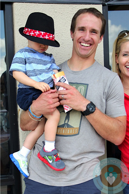 Drew brees with son Bowen in New Orleans