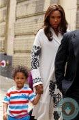 Jennifer Hudson with son David Otunga Jr, NYC