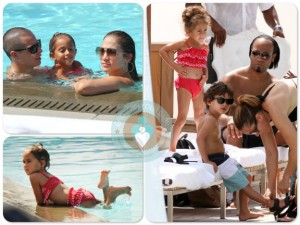 Jennifer Lopez & Casper Smart by the pool in Miami with Max and Emme