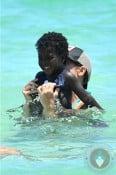 Jillian MIchales with daughter lukensia in Miami