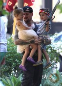 Benji Madden with niece and newphew Harlow and Sparrow at a birthday party LA