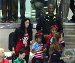 Kobe Bryant seen with wife Vanessa Laine and daughters Natalia and Gianna London at the Olympics