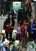 Kobe Bryant seen with wife Vanessa Laine and daughters Natalia and Gianna at the olympics