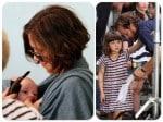 Maggie Gyllenhaal and daughters Ramona and Gloria visit dad Peter Sarsgaard on set