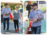 Mike Comrie, hilary duff and son Luca at the Farmer's Market