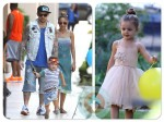 Nicole Richie, Joel Madden, Sparrow Madden, Harlow Madden at a Birthday Party