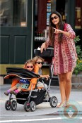 Pregnant Camila Alves with kids Levi and Vida McConaughey in NYC