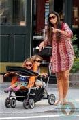 Pregnant Camila Alves with kids Levi and Vida McConaughey in NYC