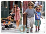 Pregnant Camila Alves with kids Levi and Vida NYC
