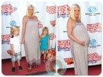 Pregnant Tori Spelling, Liam McDermott, Stella McDermott at lunchables event