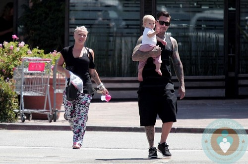 Singer Pink, Carey Hart and Willow Hart out in Malibu