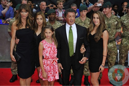 Sylvester Stallone and Jennifer Flavin with daughters Sophia, Sistine, and Scarlet