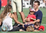 Tom Brady , pregnant gisele bundchen with sons Benjamin and john at the Patriots training camp