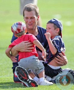 Tom Brady with son Benjamin and john @ the Patriots training camp