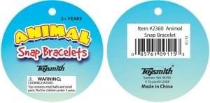 recalled toysmith slap bracelets tags