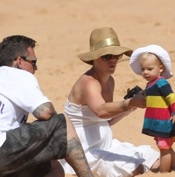 Pink & Her Family Hit The Beach in Australia