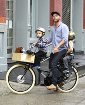 Liev Schreiber Rides With His Boys On A Bicycle Built For Three!