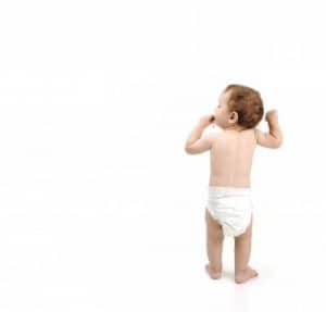 toddler in a diaper alone