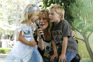 Actress Allison Sweeney with daughter Megan and son Ben at the Disney Baby Store Opening