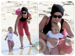 Alecia Moore with daughter Willow at the beach California