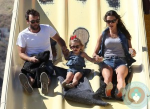 Alessandra Ambrosio with partner Jamie Mazur and daughter Anja out at Malibu cookout