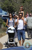 Alessandra Ambrosio with partner Jamie Mazur & daughter Anja out at Malibu cookout