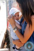 Alessandra Ambrosio with son Noah Mazur out at Malibu cookout