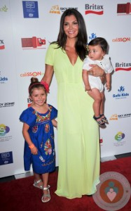 Ali Landry with her children Estela and Marcelo at the BRITAX Red Carpet event