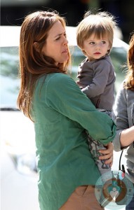 Alicia Silverstone on the set of Gods Behaving Badly with son Bear