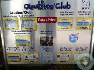 Azul Beach Kid's schedule