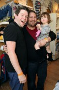 Bill Horn and Scout Masterson with daughter Simone Masterson-Horn at the Disney Baby Store Opening