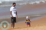 Carey Hart with daughter Willow at the beach in Australia