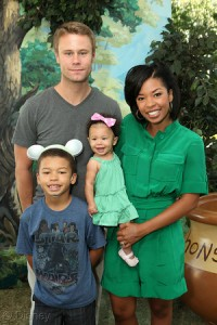 Eric Nenninger, James Nenninger, Naomi Nenninger and actress Angel Parker at the Disney Baby Store Opening