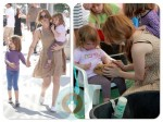 Isla Fisher with daughters Elula and Olive at a petting zoo